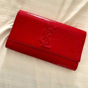 """Saint Laurent """"Belle de Jour"""" Red Patent Clutch"""